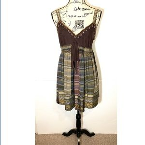 ECI Fit & Flare Embroidered Plaid Dress Low Back